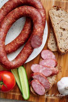 Garlic Sausage - Taste of Artisan Venison Sausage Recipes, Jerky Recipes, Meat Recipes, Homemade Italian Sausage, Homemade Sausage Recipes, Hungarian Sausage Recipe, Portuguese Sausage, Home Made Sausage, Sausage Making