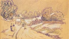 """Alfred Sisley """"Early Snow at Louveciennes"""" (1871-2) Pastel on paper, Museum of fine arts (Budapest)"""