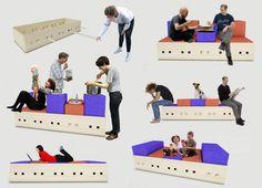 Foosball è un divano polivalente, di dimensione 2046mm x 800mm x h400mm.E' costituito da un telaio rettangolare in abete bianco e 10 stecche che possono essere inserite o sfilate a piacere a seconda della disposizione scelta dei cuscini. Il cuscino in tessuto, è di dimensione 400mm x 800mm e puo essere inserito all'interno del telaio senza stecche o sopra le stecche in diverse posizioni (orizzontale,  verticale), e quindi ottenere ad es:divano 2/4posti,  letto singolo, divano party, divano…