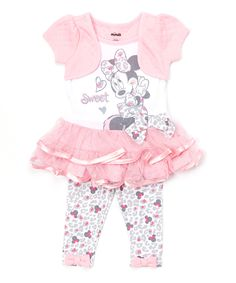Pink Minnie Mouse Ruffle Dress & Leggings - Infant & Toddler   zulily