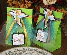 Tinkerbell Party Bags with Name Tags SET OF TEN by GraciePadron