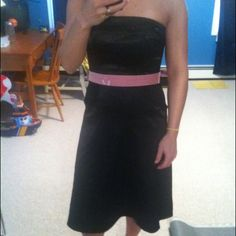 Black satin dress Black satin strapless dress with removable long pink velvet ribbon. Purchased at Lord & Taylor. Notice Dresses