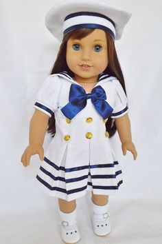 SAILOR OUTFIT 4 AMERICAN GIRL DOLLS COMPLETE W/ SHOES/SOCKS-18 INCH DOLL CLOTHES #Dolls