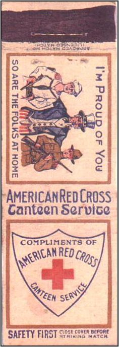 """World War 1 American Red Cross Canteen Service """"Diamond Match Co.  (Pic. courtesy of www.matchpro.org)"""