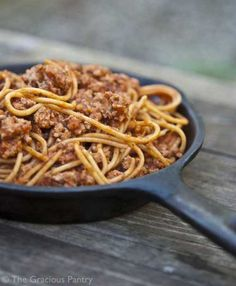 Clean Eating Skillet Spaghetti.   It calls for ground turkey, but I will probably just use ground chuck.