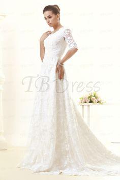 Pretty A-Line/Princess Off-the-Shoulder 3/4-Length Sleeves Chapel Taline's Wedding Dress