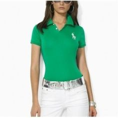 Sport Ralph Lauren Polo Very good condition. Used a few times. Ralph Lauren Tops. Ralph Lauren Womens Silver Big Pony Polo in Green
