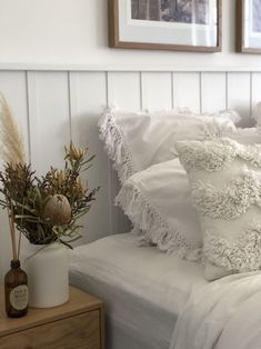 DIY wall panel bedhead l Decorative design feature in bedroom - STYLE CURATOR bedroom wall decor travel Home Bedroom, Bedroom Decor, Bedroom Headboards, Master Bedroom, Wall Decor, Bedrooms, White Wood Paneling, Wall Panelling, Wood Panneling