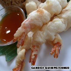 Shrimp coated in egg and flour batter and deep fried.  Served with a tomato-based sweet and sour sauce for dipping.