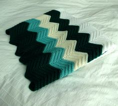 Vintage Crocheted Afghan in Chevron Pattern  by FawnAndFiligree, $26.00