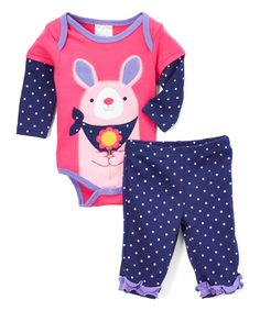 Take a look at this Baby Mode Navy & Pink Rabbit Bodysuit & Pants Set - Infant today!