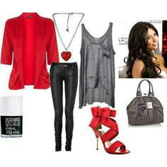 Red blazer black jeans grey top
