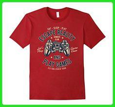 Mens Eat - Sleep - Play   Retro Video Game Players Design Large Cranberry - Retro shirts (*Amazon Partner-Link)