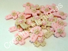 24 Mini Cream and Pink  Fondant Crosses for Mini Cupcake Toppers.  Edible cake topper crosses made of vanilla fondant, you choose the colors