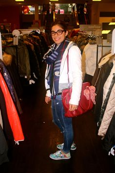 Tartan scarf and red bag