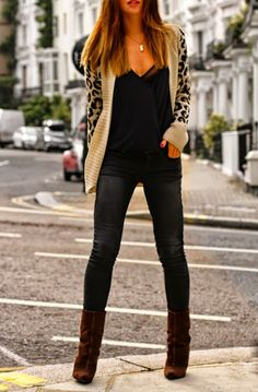 casual leopard cardigan skinny jeans and booties for fall