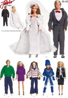 Give your Barbie dolls some knitted love. Foreign language and once again I would use different yarns. Barbie Clothes Patterns, Doll Patterns, Knit Patterns, Clothing Patterns, Knitting Dolls Clothes, Knitted Dolls, Doll Clothes, Ken Doll, Barbie Dolls