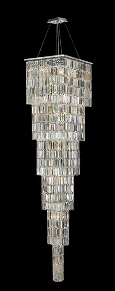 Modena Entrance Crystal Pendant Light - Large 6 Tier Square - W:40 H:2 – Designer Chandelier Australia