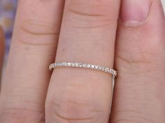 micro pave diamond engagement ring,Full eternity wedding bands rose gold bridal ring,stackable band,custom made fine jewelry,Thin Unique Diamond Rings, Diamond Bands, Diamond Engagement Rings, Emerald Eternity Band, Pave Wedding Bands, Wedding Anniversary Rings, Diamond Sizes, Conflict Free Diamonds, Bridal Rings