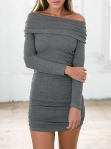 Grey Long Sleeve Off The Shoulder Ruched Bodycon Dress -SheIn(Sheinside)
