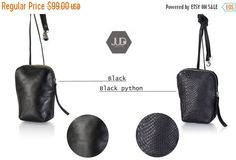 BLACK FRIDAY Small black leather purse bag BLACKFRIDY by JUDtlv