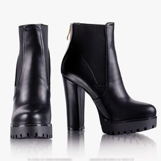 Botki U Complete Me Black Pu #boots #booties #blackboots #blackbooties #shoes #blackshoes #black #sexy #fashion #musthave #must #have