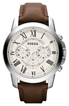 Fossil Grant Round Chronograph Leather Strap Watch, 44mm | Nordstrom
