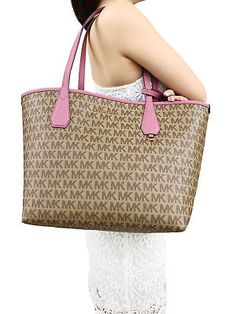 31b1a63c50c0 Michael Kors Candy Large Reversible Tote Brown Khaki Signature Tulip Pink  Pouch Tulips