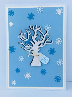 Handmade Christmas Tree Card, Snowflake Christmas Card, Blank Card, Glitter Card    eBay Luxury Christmas Cards, Christmas Tag, Handmade Christmas, Cellophane Bags, White Envelopes, Blue Bird, Snowflakes, Ebay, Home Decor