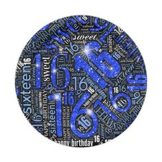 Sweet Sixteen Sparkle Word Cloud Blue ID265 Paper Plate - birthday gifts party celebration custom gift ideas diy