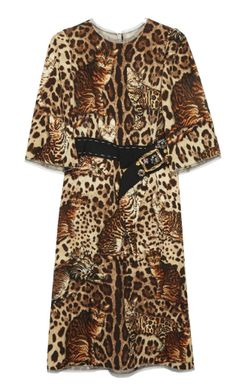 Shop now. Dolce & Gabbana Cat Print Mid-Length Dress. Dolce & Gabbana's trompe l'oeil mid-length dress cleverly conceals Bengal cats within the leopard print. Crafted from a wool blend, it features a round neck, three-quarter length sleeves and a rhinestone embellished grosgrain belt to accentuate your waist.