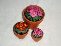 Primrose pink garden decor spring potted plant for your desktop decor, painted rocks by RockArtiste, $25.00