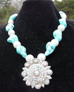 Gypsy Cowgirl Soul Turquoise Pearl Bling Berry Concho Pendant AB Crystals Rodeo #Handmade #Statement