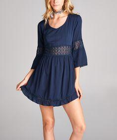 Look what I found on #zulily! Love, Kuza Navy Crochet-Detail Bell-Sleeve Dress by Love, Kuza #zulilyfinds