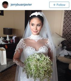 Beautiful bride Heart Evangelista wore a heavily laced gown earlier today at her Balesin wedding to Senator Chiz Escudero. Lace Wedding Dress With Sleeves, Long Sleeve Wedding, Heart Evangelista Wedding, Wedding Movies, Bridal Robes, Bridal Hair And Makeup, Bride Hairstyles, Wedding Hairstyle, Celebrity Weddings