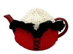 Corset Tea Cosy, Tea Lover Gift, Hand Knitted Teapot Warmer Novelty Kitchenware by thekittensmittensuk on Etsy Knitted Tea Cosies, Red Corset, Vegan Gifts, Embroidered Lace, Mother Gifts, Teapot, Kitchenware, Cosy, Snug