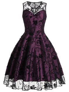 Homecoming Floral Tulle Tea Length Sleeveless Vintage Dress in Purplish Red S | Sammydress.com
