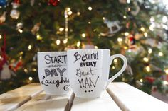 1. Draw a design on your mugs with a sharpie  2. Set your mugs in a glass baking dish    3. Place your mugs into a cold oven THEN put oven on 350F. Set the timer for 30 minutes. When the timer rings, turn off the oven, crack the door  4. Let the mugs cool completely then remove from the oven