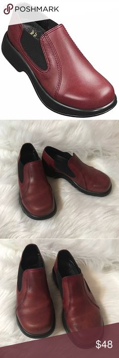 """DANSKO JOCELYN SLIP-ON CLOGS Beautiful and stylish! Excellent pre-owned condition, with some scuffing, see last pic for reference. Size: 9, color: brown, elastic sides, approximately 2 3/4"""" heel, leather upper. No trades, offers welcome. 0172227000 Dansko Shoes Mules & Clogs"""