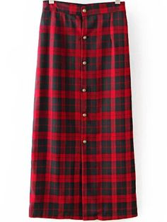 Red Black Plaid Buttons Skirt 16.67