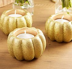 Glitter Gold Pumpkin Votive Candle Holders 2ct  Party City