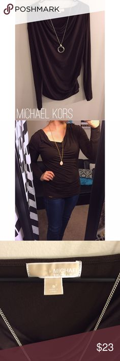 Michael Kors Chocolate Brown Cowl Neck Top Michael Kors. Size small, chocolate brown cowl neck with sinching on one side. This top is beautiful & so soft. Excellent condition Michael Kors Tops Blouses