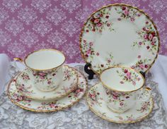 Royal Albert Cottage Garden Pair of Tea Trios, Vintage Bone China Tea cups, Saucers, Tea Plates, Rose Spray Pattern and Gilt, Exc. Condition by ImagineHowCharming on Etsy