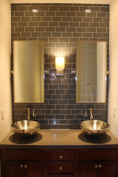 Loft Ash Gray Polished - This clean and and simple color scheme would look great in any bathroom. For more discount glass tile, v. Bathroom Gallery, Bathroom Pictures, Bathroom Ideas, Design Bathroom, Bathroom Organization, Bathroom Layout, Bath Ideas, Bathroom Interior, Modern Bathroom