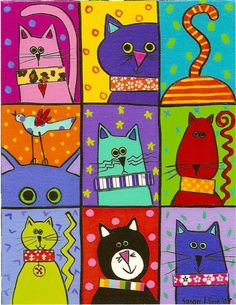 Cats Susan Kline — Martine, I know you did one pic of cats by this artist. Was… Katzen Susan Kline – Martine, ich weiß, dass [. Photo Chat, Cat Quilt, Funky Art, Cat Crafts, Cat Drawing, Drawing Ideas, Whimsical Art, Art Plastique, Elementary Art