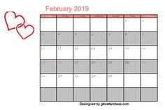 Best Cute February 2019 Calendar Free For You Calendar 2019 Printable, Cute Calendar, Print Calendar, 2019 Calendar, February Calendar, Periodic Table, Waiting, Printables, Templates