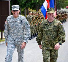 U.S. Army Europe Commander Lt. Gen. Mark P. Hertling and Croatia Land Forces Commander Lt. Gen. Mladen Kruljac inspect a formation of Croatian troops during exercise Immediate Response 2011.