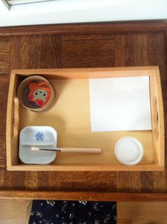 Montessori Toddler Art Activity: our new pasting tray.