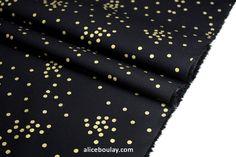 Tissu popeline coton noir pois dorés Couture Sewing, Alexander Mcqueen Scarf, Pattern, Alice, Boutique, Fashion, Poplin, Gold Polka Dots, Black Backgrounds