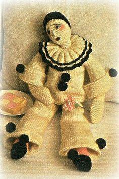 PIERROT DOLL knitting pattern by OldToyKnittingShop on Etsy